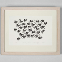 Lino Print - Thirty three Starlings  - bird art, bird pictures, bird prints