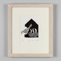 Bird Box - original lino print - bird art, bird, print,