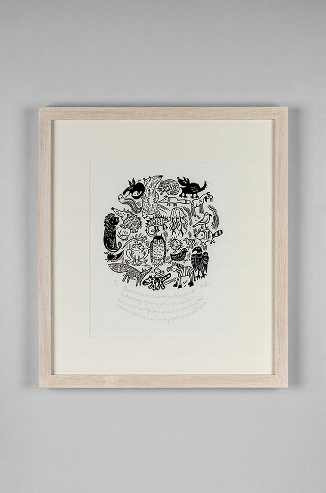 Animal A-Z original lino cut - animal art, children's art, nursery art,
