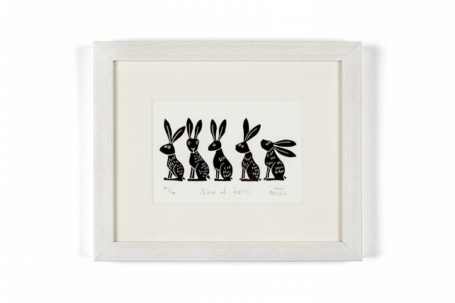 Lino Print - Line of Hares - hare art, hare print, hares,