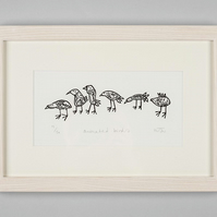 Animated Birds - Lino Print - Bird Art, Lino cut,