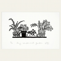 Tiny Windowsill Garden - Lino print