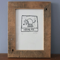 Retching Dog, original lino print
