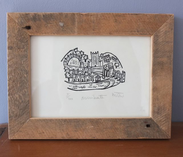 Mini Bath - original Lino Print, city of bath, somerset,