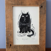 Big Cat - original lino print - cat art, cat picture