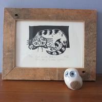 Cat on its brain... - Original lino print - cat art, cat print, cats,