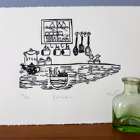 Kitchen - Lino print