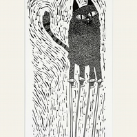 Big Cat on Stilts - lino print