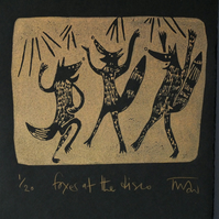 Foxes at the disco - copper lino print