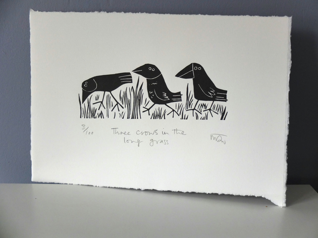 Three Crows in the Long Grass - lino cut print