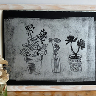Silver Windowsill Plants i - lino print