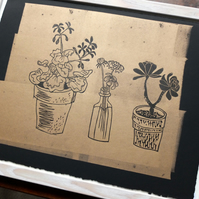 Golden Windowsill Plants iii - lino print
