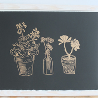 Golden Windowsill Plants i - lino cut