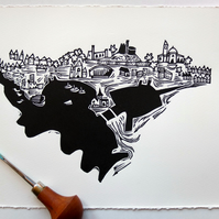 Cardiff Bay and Castle - lino print