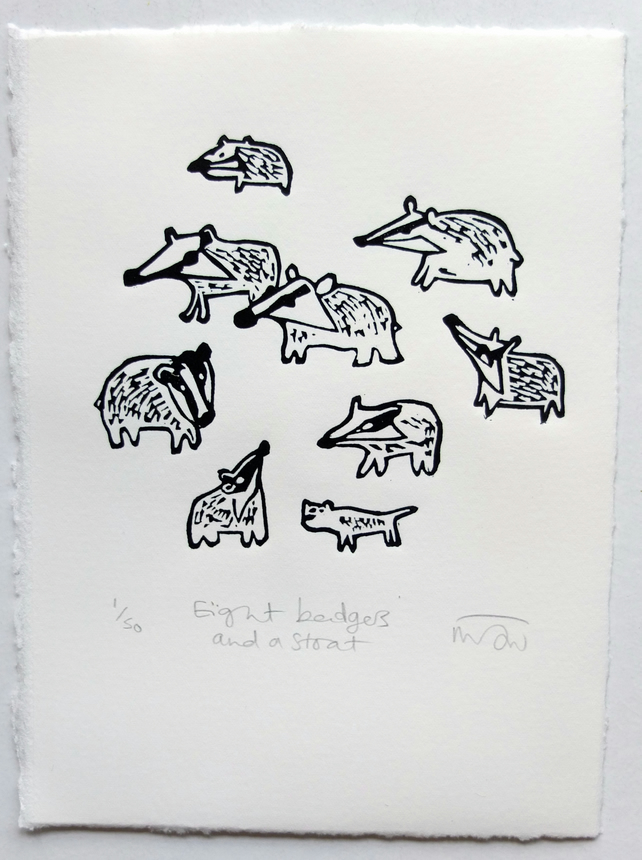 Eight Badgers and a Stoat - lino print