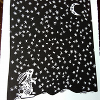 Spotty Rabbit Gazing at the Moon - original lino print