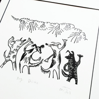 Dog Disco - lino prints