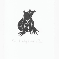 Lovely Bear - lino cut print