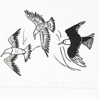 Three Seagulls - lino print picture