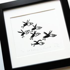 Six Puffins in Flight - lino cut print