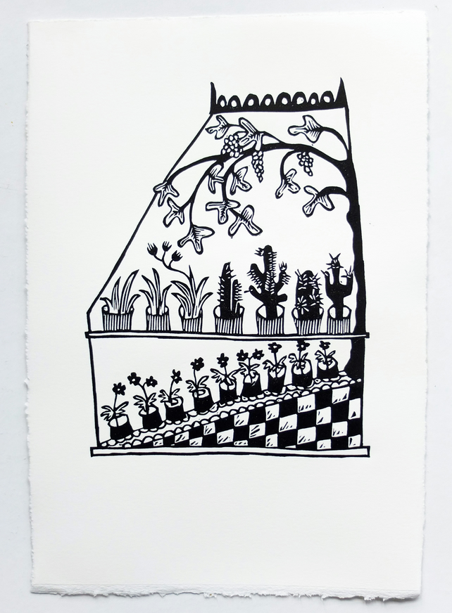 Hothouse - lino print