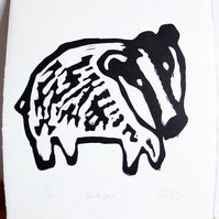 Badger - lino cut print