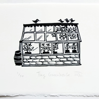 Tiny Greenhouse - lino cut print