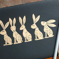 Line of Gold Hares - lino cut print