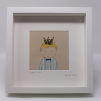 SALE Handsome Little Prince Applique and Embroidery Textile Art