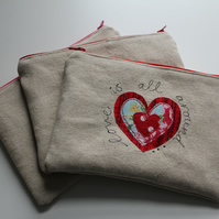 Love is all around  cotton linen embroidered purse