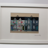 Victorian Street in Blue - applique and freehand embroidered textile art