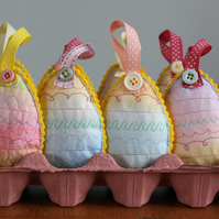 Lavender Eggs - hand painted and embroidered hanging Easter decoration