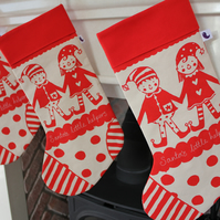 Santa's Little Helpers Screen Printed Christmas Stocking