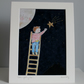 Catch a Falling Star Embroidered and hand painted Textile Art