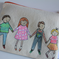 Boys and GIrls Embroidered Zip Purse