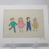 Boys and Girls Free Motion Embroidery Textile Art