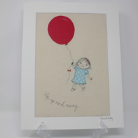'Up, up and Away' free motion embroidered textile art