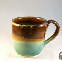 Mug Cup Brown blue and Green
