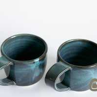 Ceramic Mugs - SET OF 2 - Midnight Blue Cups