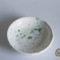 Small White bowl with Green splashes - Small dish Plate