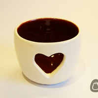 Heart Tealight Holder - Burgundy and Cream - Candle Holder
