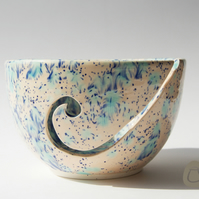 Yarn Bowl - Cream Peach and Blue Wool Bowl