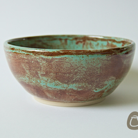 Bowl - Green and Brown Stoneware Dish - Jade and Rust