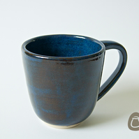 Blue Stoneware Mug - Handmade Blue and Brown Cup