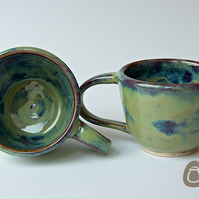 Set of 2 Cups - Mug Set - Coffee Cup - Tea Cup - Green, Blue and Brown