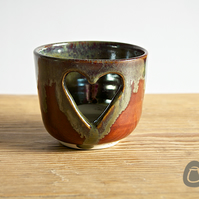 Candle Holder - Heart Tea light Holder - Red and Silver - Stoneware