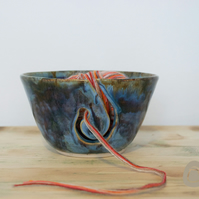 Yarn Bowl - Blue and Heather Wool Bowl