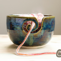 Yarn Bowl - Blue and Straw Coloured Wool Bowl