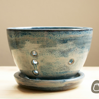 Stoneware Berry Bowl - Denim Blue colander - With Drip Plate
