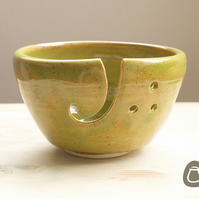 Yarn Bowl - Olive Green and Brick Red Wool Bowl
